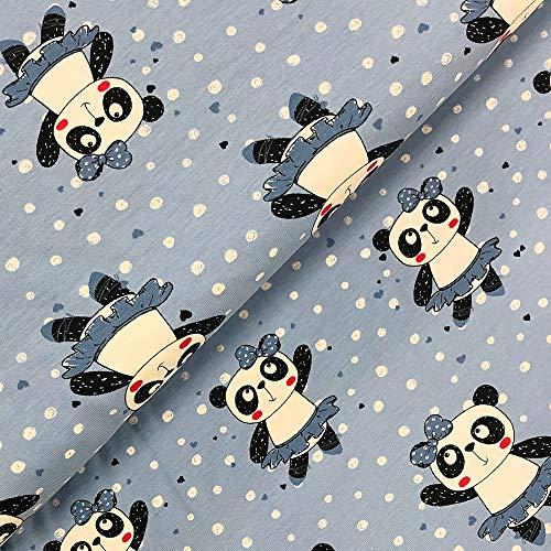 """Kinderstoff Jersey /"""" Panda /"""" schwarz auf hellblau Pandabären"""