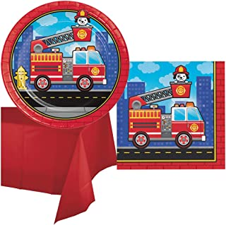 Firetruck Birthday Party Supplies Pack Set Fire Truck Luncheon Size Paper Plates Napkins and Table Cover for 16 Guests Firefighter Theme Red Ladder Truck Bundle Kit