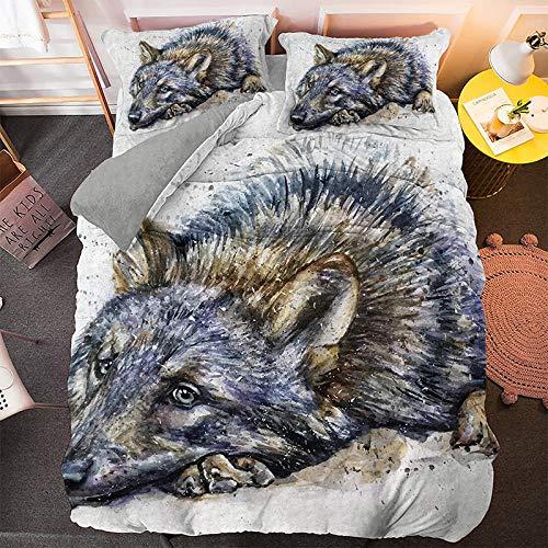 Weilaike - Copripiumino di lusso con stampa 3D, con lupo che volerà nel cielo notturno come tema, tre pezzi di biancheria da letto animali naturali è un per adolescenti e adulti-Color2_full