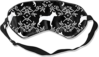 Basenji Floral Silhouette Dog Black Breathable Pure Silk Sleep Eye Mask Best Sleeping Eye Cover for Travel, Nap, Blindfold with Adjustable Strap for Men, Women or Kids