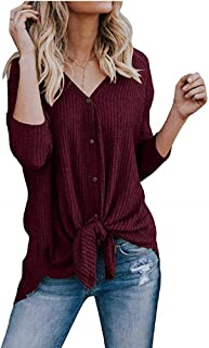 Ivay Women's Lightweight Cardigan Sweater Fall V Neck Knitted Top
