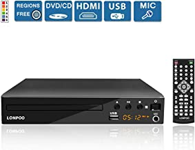 LONPOO Compact HD DVD Player All Region Free Support AV & HDMI Output (Cable Included), Multi Zone Free Play, PAL/NTSC Format, USB2.0 Port Input, with Full-Function Remote Controller