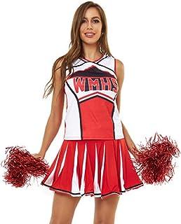 LaoZan Damski 2-częściowy zestaw kostiumowy strój nastolatka cheerleaderka mundur bez rękawów plisowana spódnica cosplay k...