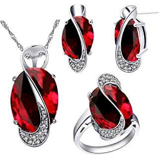Uloveido Silver Plated Jewelry Set Rainbow Mystic Topaz Ring Earrings Pendant Necklace T472