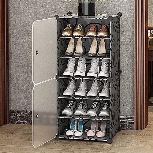 YQCX 6-Terceras Bastidores de Zapatos de Pie, Gabinetes de Alenamiento de Zapatos con Estanterías Ajustables Y Puerta, Estante de Zapatos Modular Apilable para el Dormitorio-Negro.