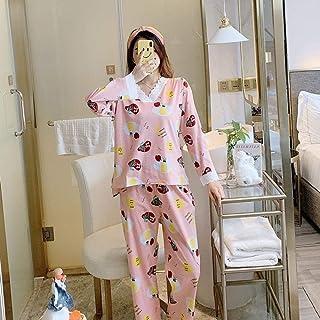 Generic Brands Otoño Pijamas de algodón Puro Pijamas de Mujer Dormir Cuello Redondo Manga Larga Top Pijamas de pantalón Largo Conjunto Mujer Ropa de Dormir Pijamas