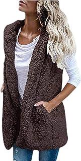 Women Vest Coat Sleeveless Hoodies Cardigan Sherpa Jacket Coat Outerwear Tops