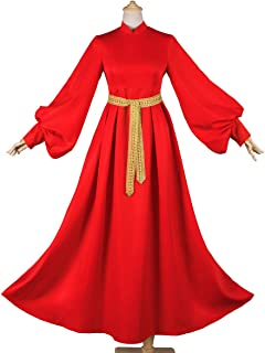 Women's Long Sleeve Red Peasant Dress Medieval Costume with Belt Evening Prom Gown Wedding Dress