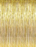 2 Pack Tinsel Foil Fringe Backdrop Metallic Door Window Curtain Shimmer Photo Booth for Birthday Wedding Bridal Baby Shower Christmas Party Decoration (3.28ft x 3.28ft, Gold)