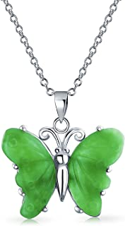 Carved Green Jade Garden Butterfly Pendant Necklace For Women For Teen 925 Sterling Silver With Chain