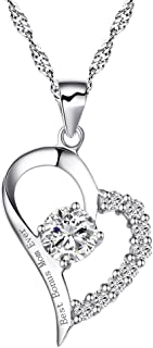chaomingzhen 925 Sterling Silver Heart Best Bonus Mom Ever Necklace CZ Engraved Pendant Cubic Zirconia 18
