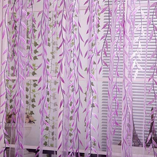 YEYOUCAI Cortina Impresa en Offset de Mimbre Cortinas Florales pastorales Frescas, Tamaño: 1 MX 2 m