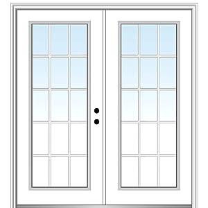 National Door Company Z029264L Steel, Primed, Left Hand In-swing, Exterior Prehung Double Door, Internal Grilles Full Lite, 64