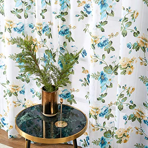 MRTREES Printed Sheer Curtains 84 inches Long Living Room Floral Leaf Print Window Curtain Sheers Bedroom Window Treatment Set Kitchen Vintage 2 Panels Rod Pocket Voile Drapes - Aqua Blue Flowers