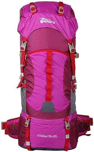 Giow Sac de randonnée Sac à Dos Sac à Dos Sac à Dos Sac à Dos 55 + 10L de Grande capacité Hydrofuge voyageant en Voiture Camping Sac à Dos de randonnée (Couleur  Rose Rouge, Taille  55 + 10L)