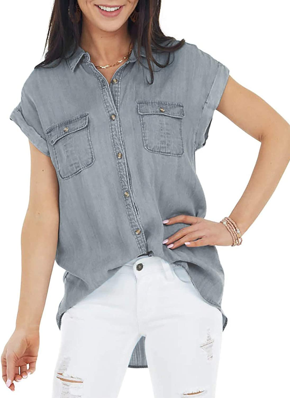 AZOKOE Women Denim Blouses Casual V Neck Button Down Shirt Tops
