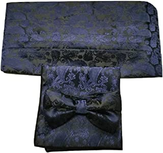 L&L® 3 Pcs Satin Paisley Matching Cummerbund + Bow Tie + Pocket Square Set