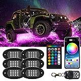 RGB LED Rock Lights 90 LED Multicolor Neon Underglow impermeabile Music Lighting Kit con controllo APP e RF per Jeep Off Road Truck Auto ATV SUV Moto (6 Pods)