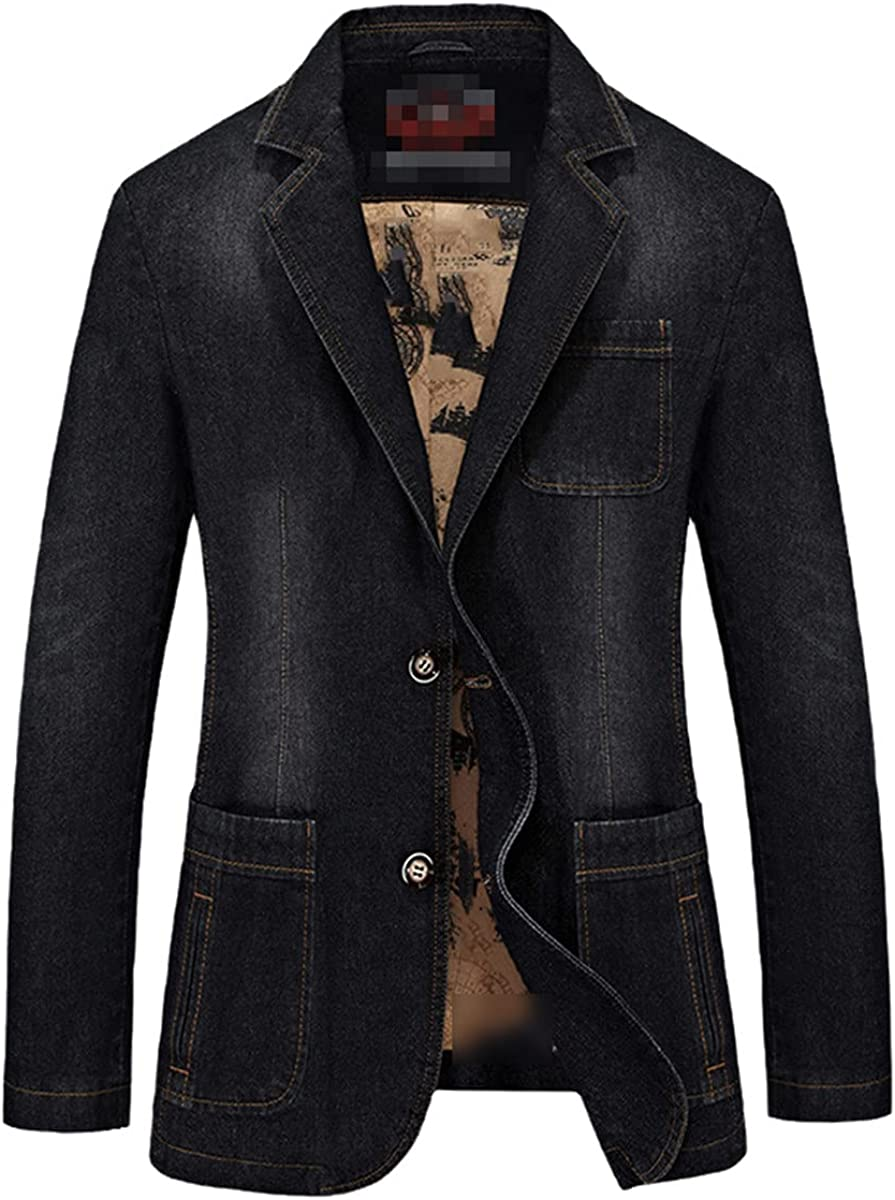 DFLYHLH European and American Men's Fashion Casual Denim Loose Patch Pocket Suit Jacket