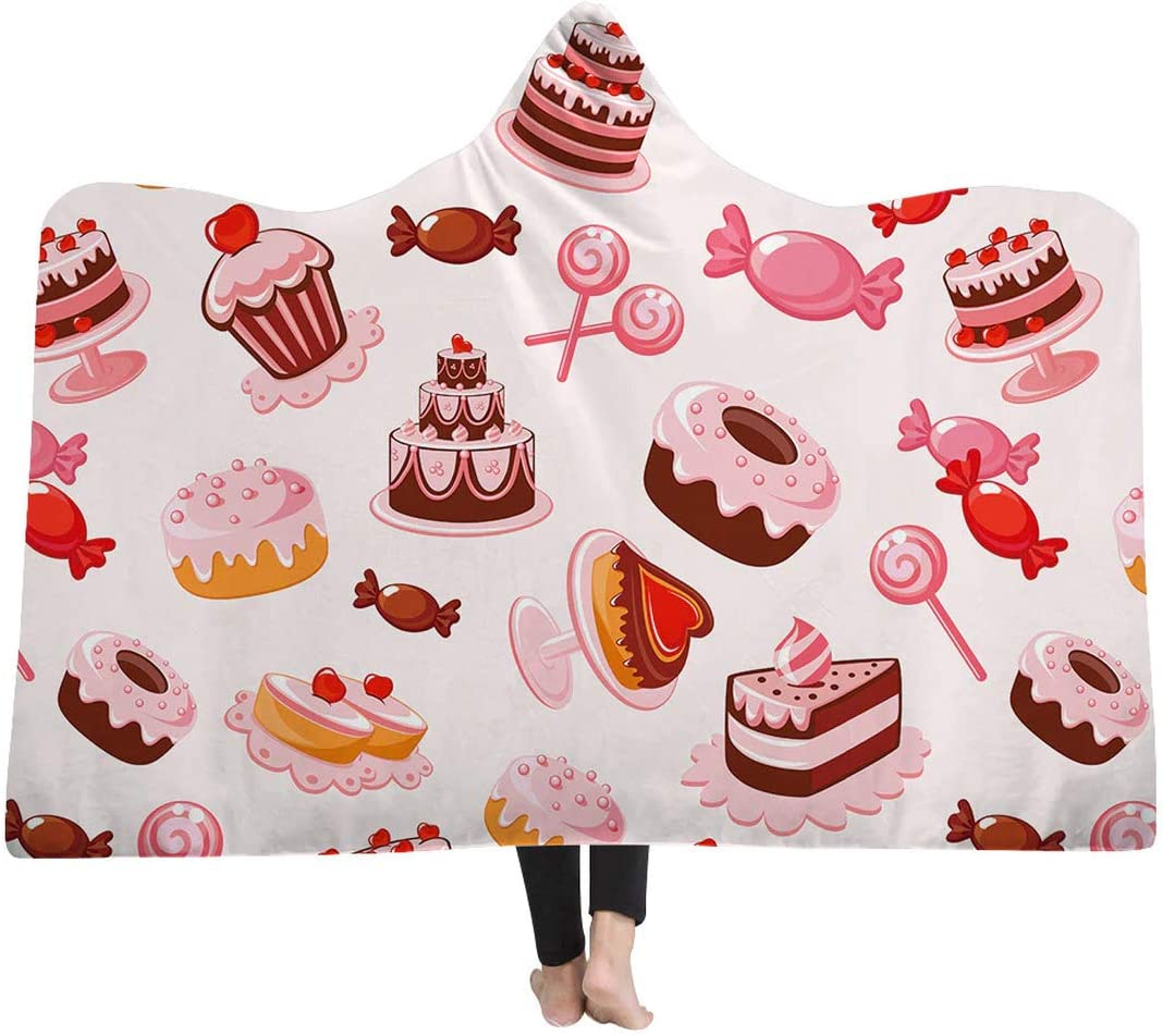 Personalized safety Dessert Pastry Printed Double Blankets Layer NEW before selling Hooded