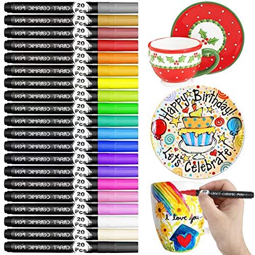RATEL Porzellan Pinselstift, 20 Farben Ungiftig Kein Ausbluten Porzellan Farbe Permanent wasserdicht Acrylstifte Marker Stifte, Spulmaschinenfest Wasserfest Paint Marker for DIY Becher,Porzellan