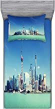 Ambesonne China Cityscape Fitted Sheet & Pillow Sham Set, Shanghai Skyline Pudong River Scene Skyscrapers Modern Image, Decorative and Printed 2 Piece Bedding Set, Twin, Mint Green Blue Grey