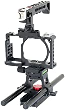 Filmcity Video Camera Cage Top handle with 15mm Rail Rod Support for SONY Alpha Mirrorless A6000 A6300 ILCE-6000 6300 NEX-...