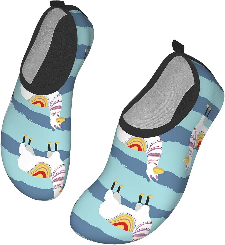 IBILIU Alpaca Water Shoes,Llama Desert Animal Cartoon Lama Green Blue Stripe Quick-Dry Barefoot Aqua Socks