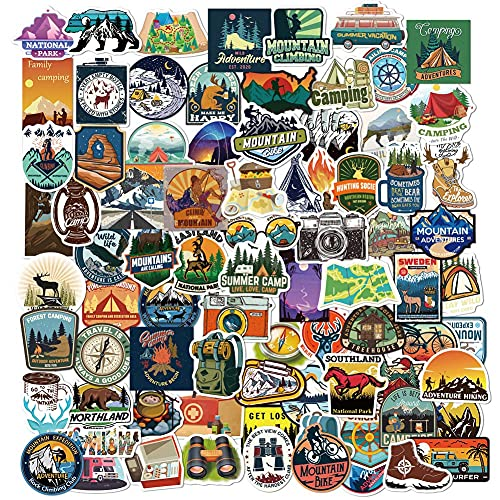 Waterproof Vinyl Outdoor Stickers for Water Bottle 80pcs, Adventure Hiking Canmping Stickers for Adults Teens, Wilderness Nature Decals for Laptop, Outdoor Gifts (Outdoor Stickers)