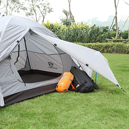 Bessport Backpacking Tent 1-2 Person Ultralight Camping Tent Waterproof Two Doors Tent Instant Setup – Less Than 1 Min for Camping, Hiking Mountaineering Expeditions (2P-Light Grey)