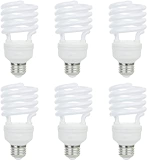 Sunlite 41165-SU Compact Fluorescent T2 Spiral Standard Household Energy Saving CFL Light Bulb, 26 Watt, (100W Equivilant) Medium (E26) Base, 65K-Daylight, 6 Pack