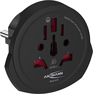 """ANSMANN Travel Adapter """"World to Europe""""   Suitable Use in European Countries with 2-Pin Plug   Travel Plug Adaptor Conver..."""