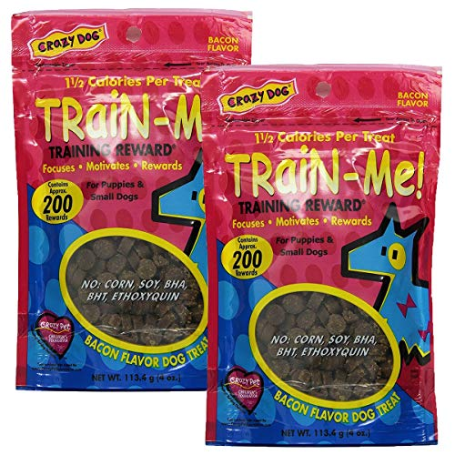 Crazy Dog Train-Me! Training Reward Mini Dog Treats, Bacon Mini - 2 Pack