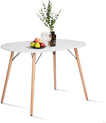 """Living Room Bedroom Outdoors JAXPETY 35/"""" Modern Kitchen Dining Table Furniture with Round Glass Top Clear Crisscross Stainless Iron Legs for 4-Person"""