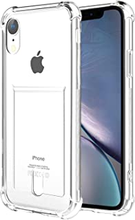 ANHONG iPhone Xr Clear Case with Card Holder, [Slim Fit][Wireless Charger Compatible] Protective Soft TPU Shock-Absorbing Bumper Case with Soft Screen Protector, Compatible iPhone Xr 6.1 inch