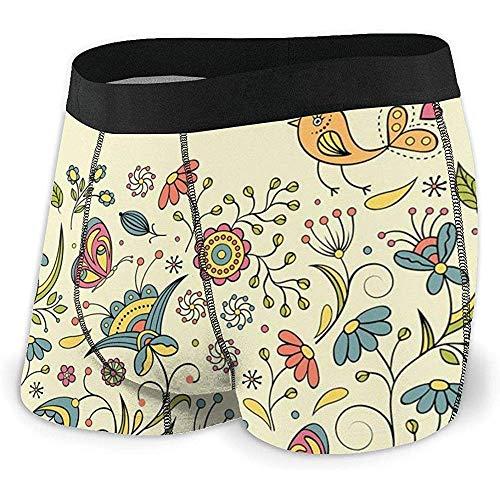 Calzoncillos bóxer para Hombre Floreciente Primavera Prado Adornado Naturaleza artística Romántico Aves Mariposas Hojas