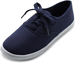 Ollio Women's Shoes Lace Up Sneakers Canvas Flats