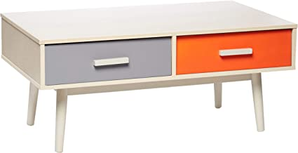 Maison Concept Radiant Coffee Table Drawers - Orange, Grey and Turquoise, 1050 x 550 x 436 mm