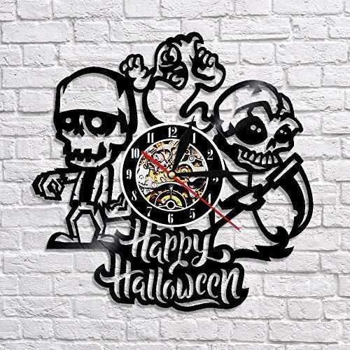 wtnhz LED-Happy Halloween creative decoration clock unique gift ideas vinyl record LED 3D wall clock color change
