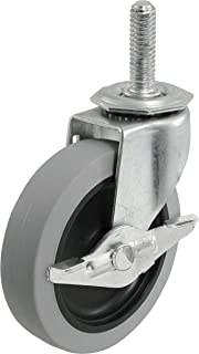 Shepherd Hardware 3266 3-Inch Threaded Stem TPR Caster with Brake, 110-lb Load Capacity