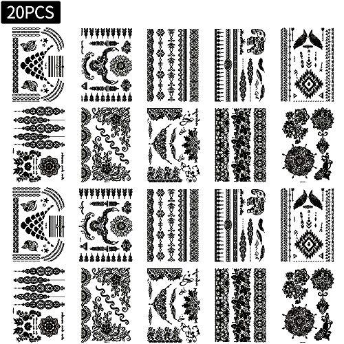 20 fogli Tatuaggi temporanei impermeabile finto Temporaneo Tattoo Adesivi Body Art Nero per bambini adulti donna