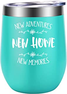 New Adventures New Home New Memories - Funny Housewarming Gifts for New Home - House Warming Presents for Women - Realtor Gifts for Client - Homeowner, Christmas Gifts for Friend - LEADO Wine Tumbler