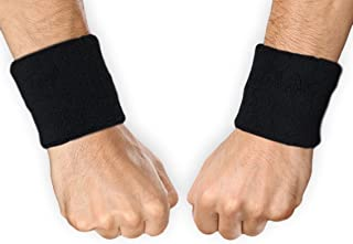 Sports Wristbands - Wrist Sweatbands for Athletics - Fits Men & Women - Ideal for Baseball, Tennis, Basketball, Football, Running & Working Out - Sweat Absorbing Cotton Terry Bands - 1 Pair