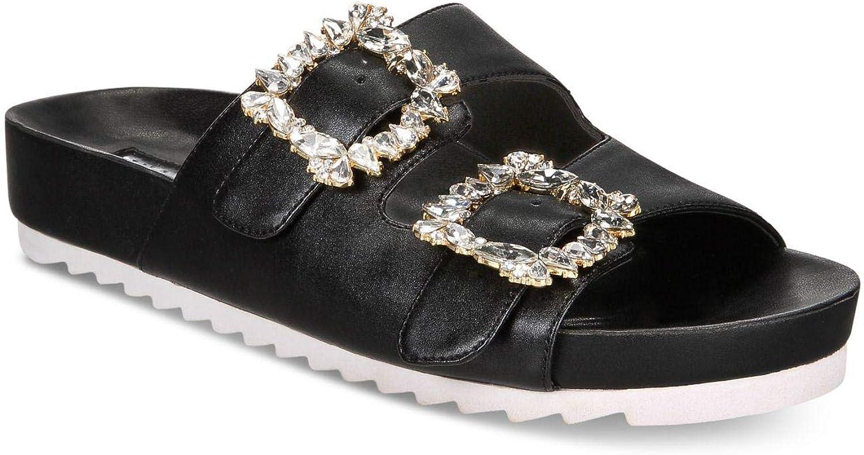 Inc Womens Alani Faux Leather Metallic Flat Sandals Black 6.5 Medium (B,M)