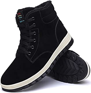 Mens Winter Snow Boots Fur Lined Warm Ankle Booties Waterproof Slip-on Sneakers Lightweight High Top Outdoor Shoes