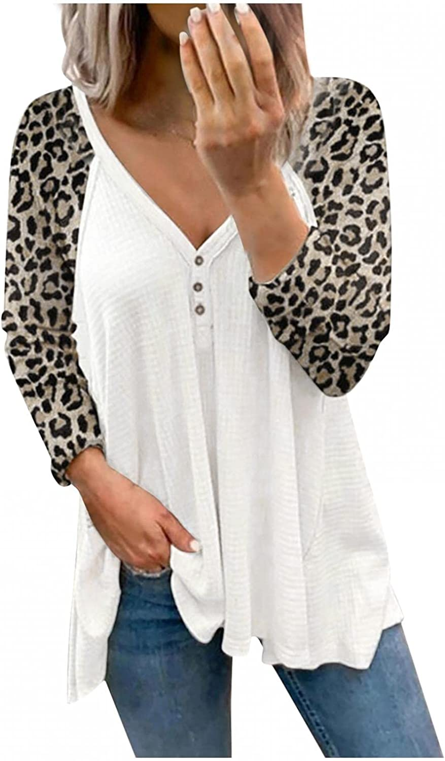 Women's Leopard Print Tops V-Neck Button Causal Long Sleeve Tunic Tees Henley Blouse Loose T Shirt