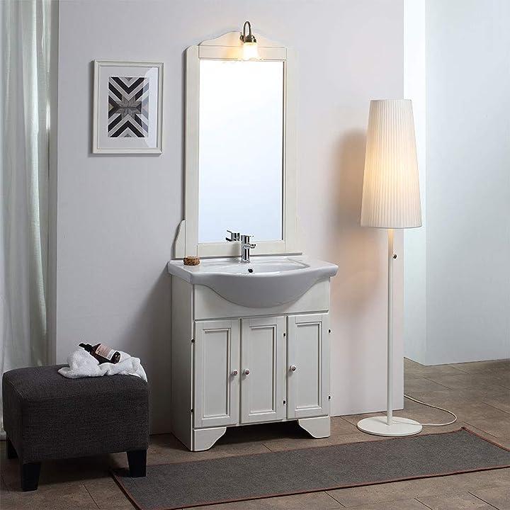 Mobile a terra per arredo bagno decape` sbiancato lavanda 75 cm B0189BCK7M