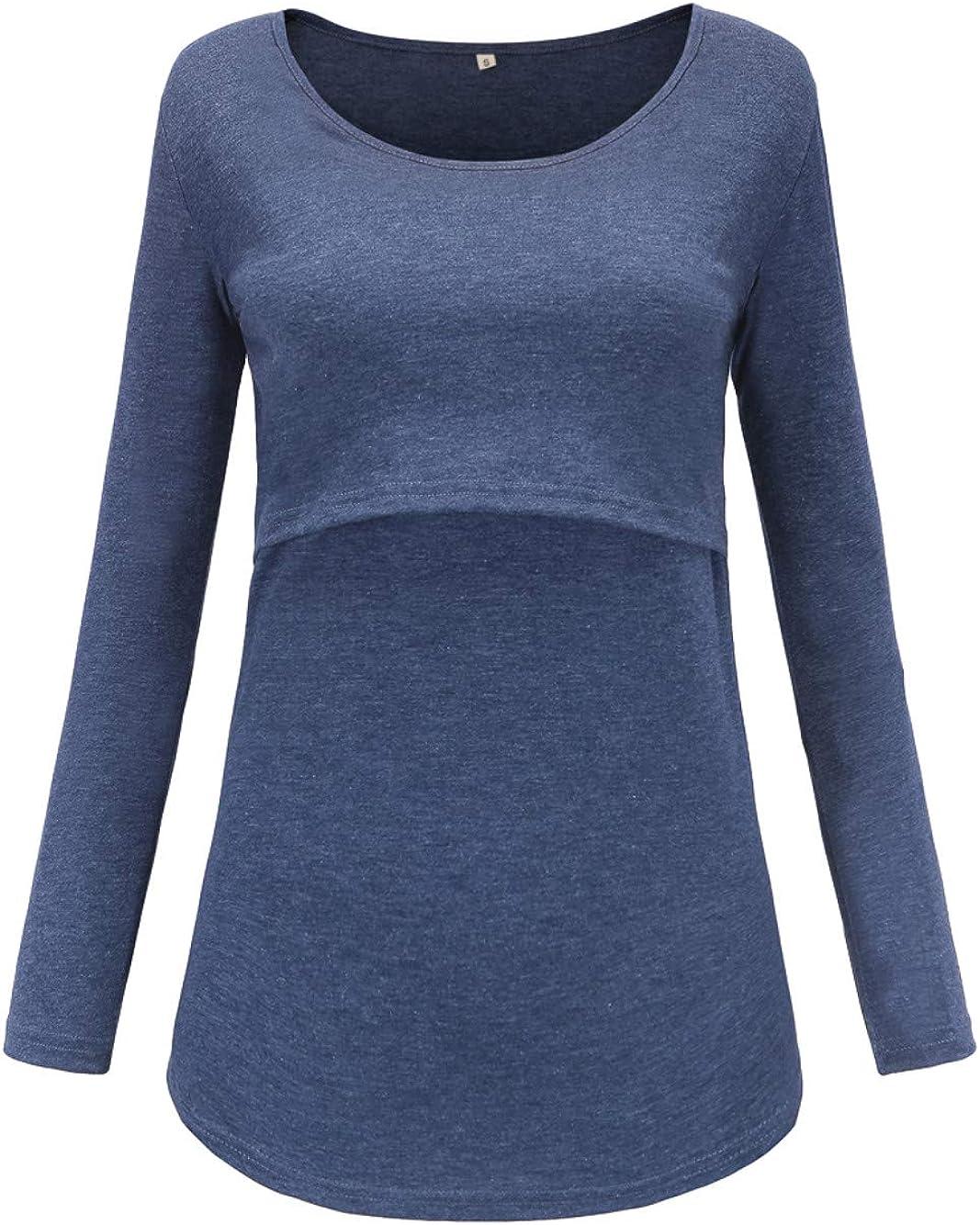 Love2Mi Damen Schwangere Stillen Shirt Nursing Langarmshirts Rundhals Top Schwangerschaft Umstandstop