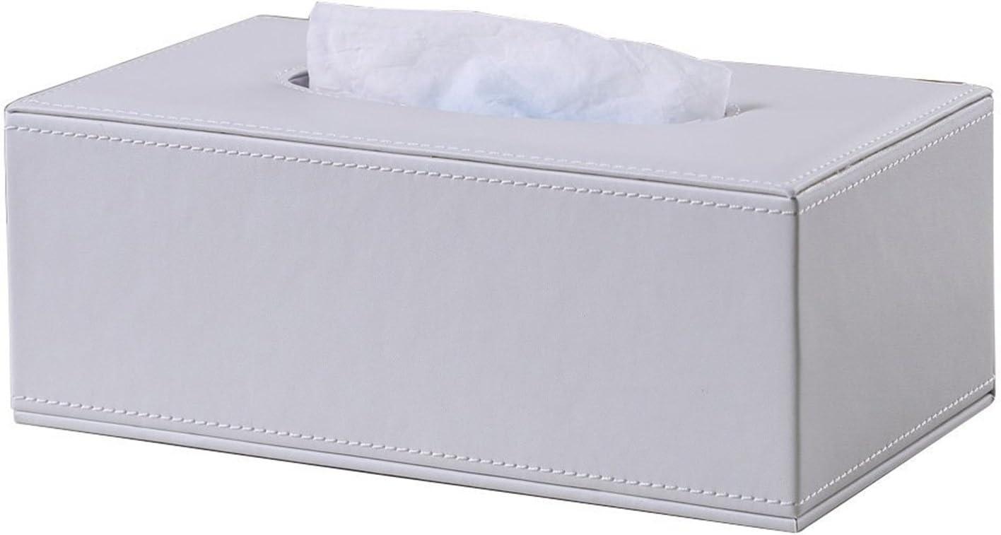 Kingfom rectangular piel sintética caja de pañuelos de papel Servilletero para la oficina en casa, decoración de coche Automotive (Blanco puro)