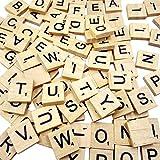 100 PCS Scrabble Tiles Games Wood Letters A-Z Capital Letters for Crafts, Pendants, Spelling